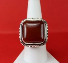 """925 Sterling Silver Chunky Bold Large 1"""" Brownish Stone Ring Size 8"""