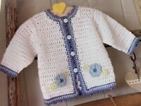 "Baby Crochet Pattern Flower Trimmed Jacket Chest 16 - 22"" DK Yarn  BR367"