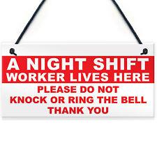 Night Shift Worker Do Not Disturb Hanging Plaque Novelty Keep Quiet Door Sign
