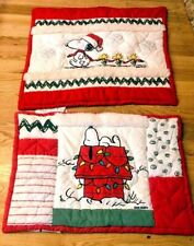 2 Pottery Barn Teen Christmas PEANUTS SNOOPY QUILTED SHAM SET Euro & Standard