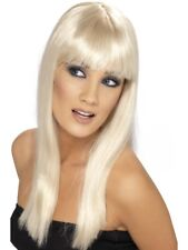 Blonde Glamourama Wig Long Straight w/ Fringe Adult Smiffys Fancy Dress Costume