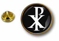 pins pin badge pin's metal button chrisme symbole chretien jesus chi rho
