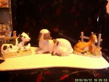 Lot of 3 Homco Farm Animals. Horse, Cow, and Sheep. Excellent Condition