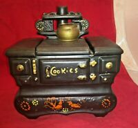 McCoy Pottery Stove Cookie Jar 9in Black Vintage Canister Wood Oven Floral USA