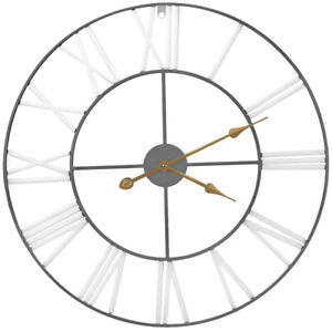 """Large Decorative Wall Clock for Living Room Décor, 24"""" Round Roman Numeral White"""