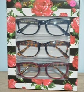 NEW Betsey Johnson 3 PAIR Reading Glasses Black/Brown Tortoise/RED Readers
