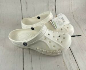Crocs Baya White Clogs Unisex Beach Shower 10126-100 Men's Size 7 Women Size 9