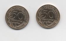 50 centimes 1962 et 1963 MARIANNE Col a trois pli en SUP