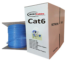 Cat6 Plenum 1000ft Cable Pure Copper UTP Network Wire 350Mhz  Blue