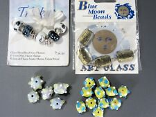 Art Glass Bead Lot Trinkettes Blue Moon Sputnik