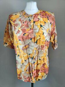 Vintage Women's Blouse Yellow Orange Floral Print Retro Grunge Blogger 12 14 Vtg