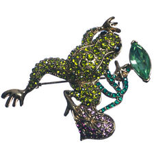NUOVO GOLD TONE VERDE CRYSTAL Frog in viola Lily PAD spilla in scatola regalo