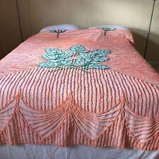 """Vtg fluffy chenille bedspread salmon peach green leaf design CUTTER 83X89"""""""