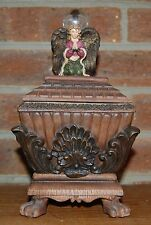Angel Atop Lidded Candle Decorative Brown Jar Box