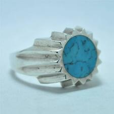 T11A02 Vintage Deco Signed Taxco Blue Stone Sunburst Sterling Silver Ring Sz 13