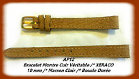 BRACELET MONTRE CUIR VÉRITABLE XERACO/* MARRON CLAIR /* 10 mm REF.AP12