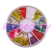 FIMO SMILEY FACE MIX NAIL ART DECO DESIGN CRAFT SLICE FOR NAILS 6CM WHEEL C