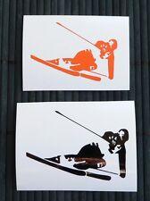 adesivo sciatore sci auto moto scooter wall sticker decal vynil vinile ski