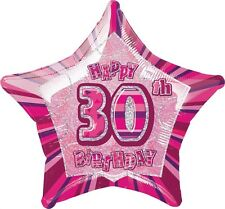 "20"" Happy 30th Birthday Party Pink Sparkle Star Foil Balloon"