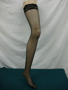 NWOT No-Nonsense Black Thigh High Pantyhose 5 pair