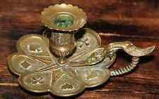 Original Bougeoir bronze 1900 Dragon au jeu de cartes as carreau pique trèfle