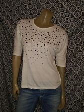 Guess White Embellished Crew Neck Half Slv Blouse Top Shirt Womens LARGE USED