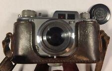 Aka Akarette 35mm camera w/ 50mm f/3.5 lens cap and case CLA