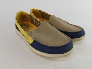 Crocs Walu Canvas Loafer Boat Shoes Blue Yellow Beige Womens Size 8