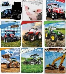 Tractor Farm Pig Duvet Cover Set Kids Boys Single Quilt Bedding 100% Cotton