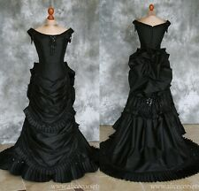 Gothic Black Ball Gown Evening Dresses Scoop Crystals Formal Prom Bridal Gowns