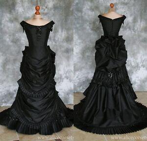 Black Gothic Wedding Dresses Taffeta Bridal Ball Gowns Ruffels Formal Gowns Plus