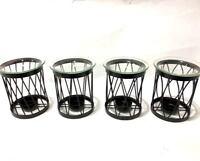 New Iron Wire w Glass Dish Essential Oil Burner Wax Melt Home Fragrance Tealight