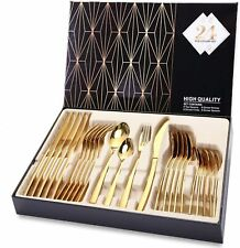 24Pcs Silverware Set Service for 6 Stainless Steel Flatware Cutlery Set Gift Us