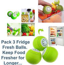 Pack 3 FRIDGE FRESHENER Deodoriser Balls Removes Odour Food FRESHER FOR LONGER