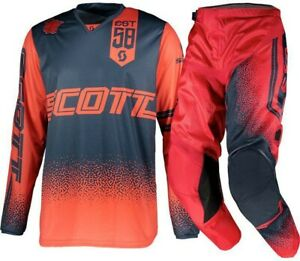 Brand New 34W/X-Large Scott 350 Podium Red/Navy Adult Motocross MX Kit Combo