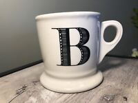 Anthropologie Monogram B Coffee Mug Cup Shaving Letters White Black