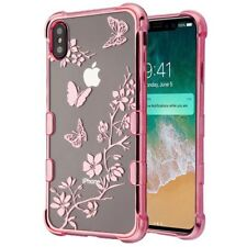"iPhone XS Max (6.5"") Hard Rubber Case Cover Rose Gold Clear Flower Butterflies"