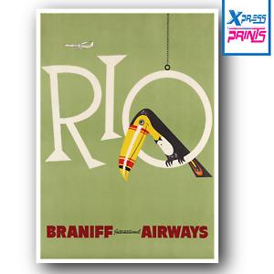 Vintage Travel Poster Retro Rio De Janeiro Wall Art Deco A3 A4 A5 SIZE LAMINATED