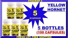 Stacker2 Yellow Hornets Energy 20 Bottle Ephedra Free Lot of 5 X (100 Capsules)