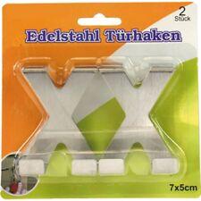 Türhaken-Set aus Edelstahl Haken Kleiderhaken Türgarderobe 2-teilig 7x5cm X-Form