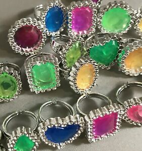 CLOSEOUT 40 Princess Gem Shapes Rings Colorful Bulky Jewelry Kid's Children's