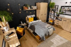Modern corner wardrobe with soft close doors, loft style, Lara