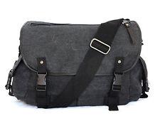 Quality Wash Black Canvas Bag Multi Pockets Shoulder Carry Wide Strap