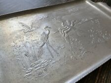 Vintage Metal Tray With Heron Crane Water Scene, Etched Silver Tone Tin Platter