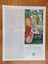 1962 Quaker State Motor Oil Ad Couple Golfing Sports Car Theme