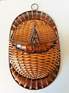 Wall Hanging Basket With Copper Colored Metal Trim Floral Center Decorative