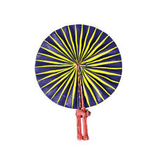 Purple/Yellow African Print Traditional Folding Hand Fan