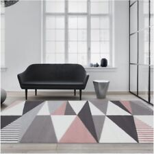 Rose Millennial Pink Grey Geometric Rugs Kids Triangle Diamonds Living Room Rug