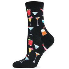 Tropical Drinks Hot Sox Trouser Crew Socks Black New Women Size 9-11 Fashion