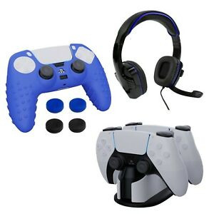 Premium Gamer Pack for PlayStation 5 PS5 Headset, Charge Dock, Skin, Thumb Grips